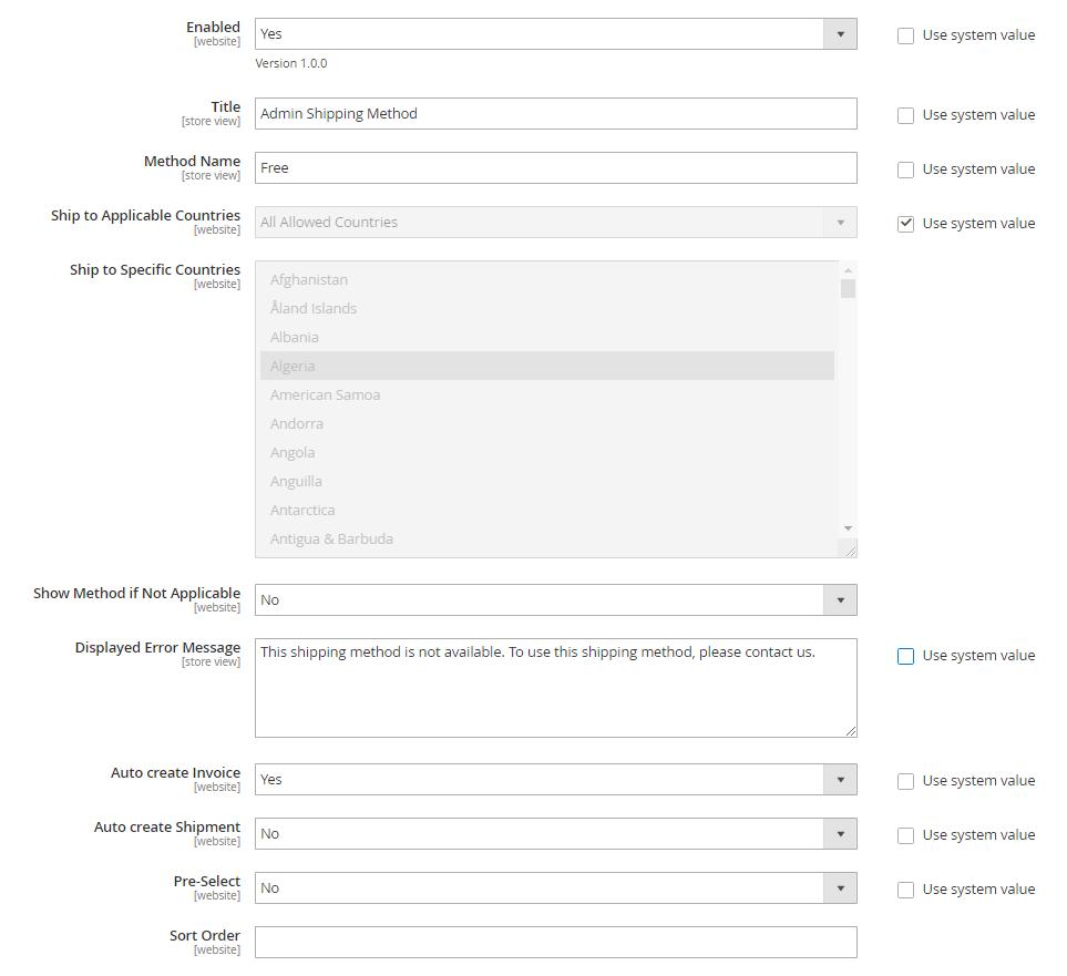 admin shipping method settings