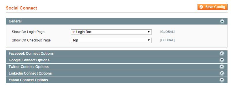 general settings of Magento Social Login extension