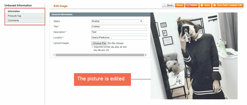 picture edit page in Magento Unboxed extension