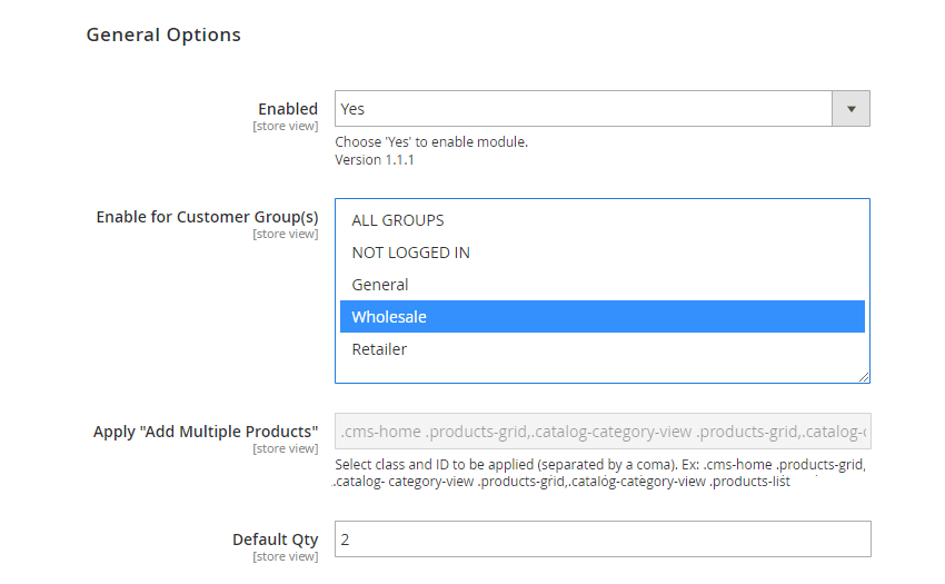 Add Multiple Products to Cart General Settings