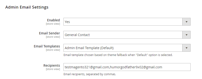 Admin Email Settings