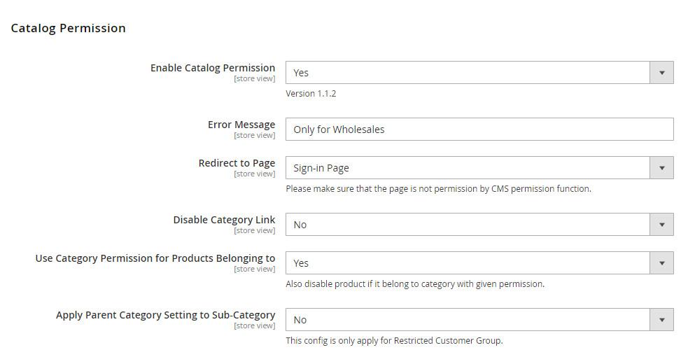 magento customer group catalog-General Settings