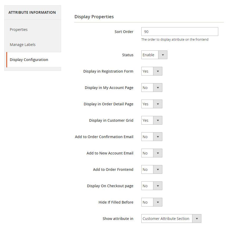 Customer-Attribute-Display-Priority