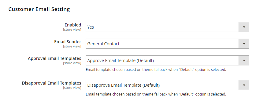 Customer Email Settings