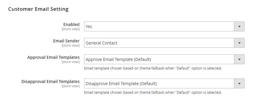 Customer Email Settings