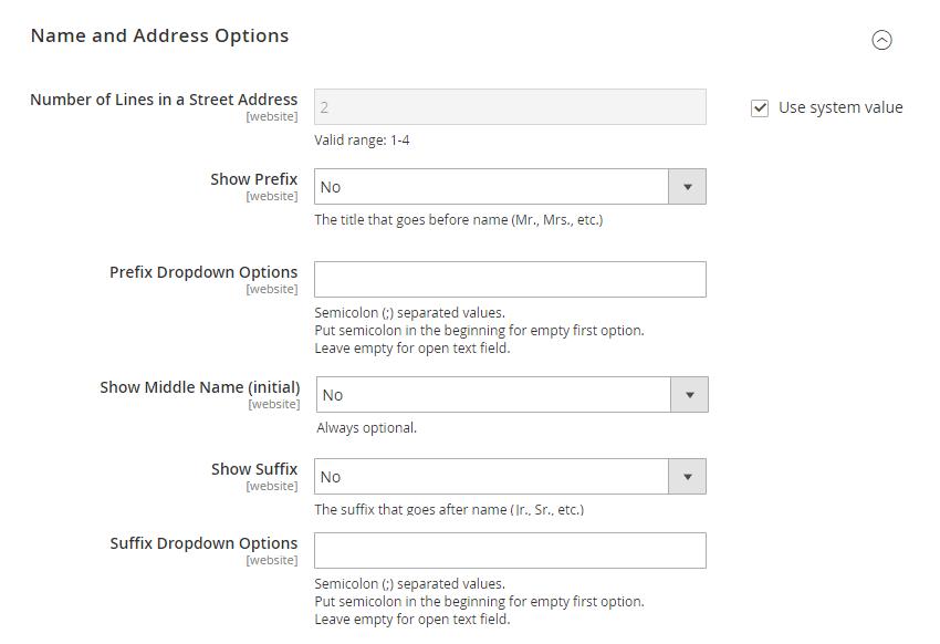 Default Customer Configurations