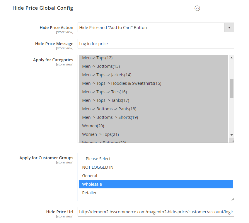 Hide price global config