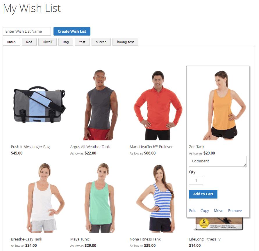 Manage Items in Wishlist