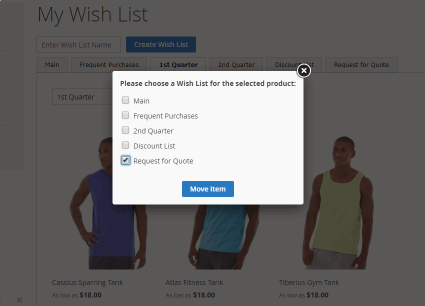 Manage Wishlist in Popup