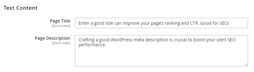 Metadata of the coming soon page