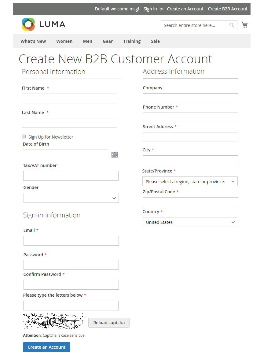 b2b registration form