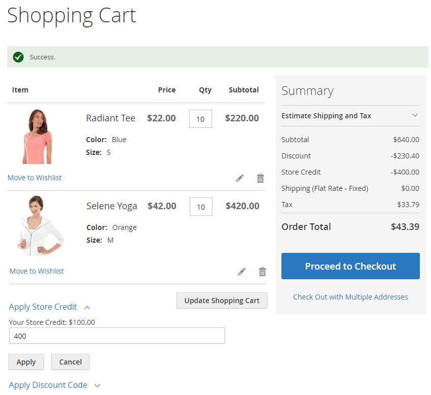 Store Credit in Shopping Cart