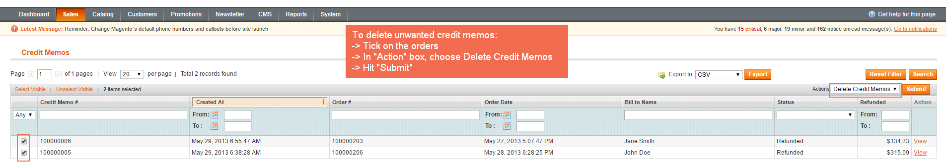 pick credit memos in grid to delete
