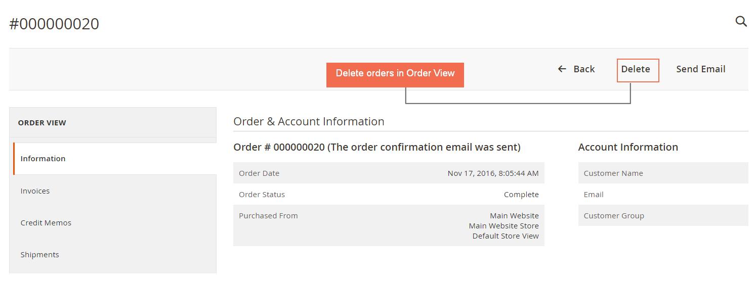 delete order in order detail page