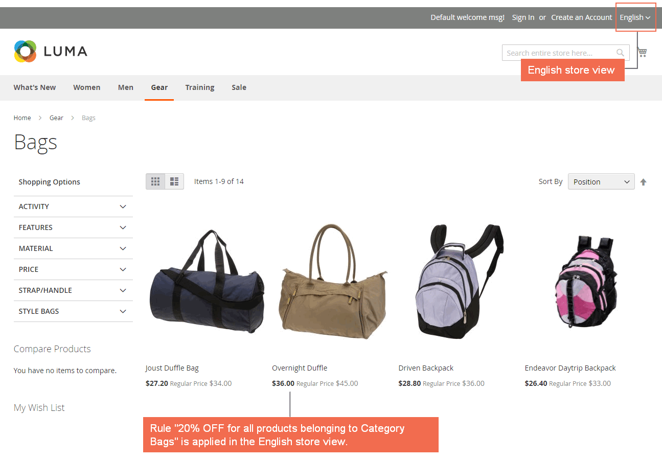 english-catalog price rule magento 2 frontend