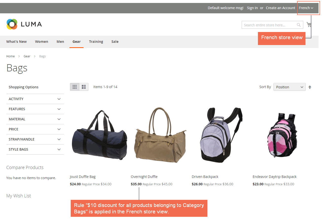 french-catalog price rule magento 2 frontend