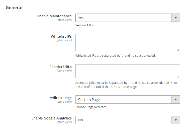 general settings of maintenance page