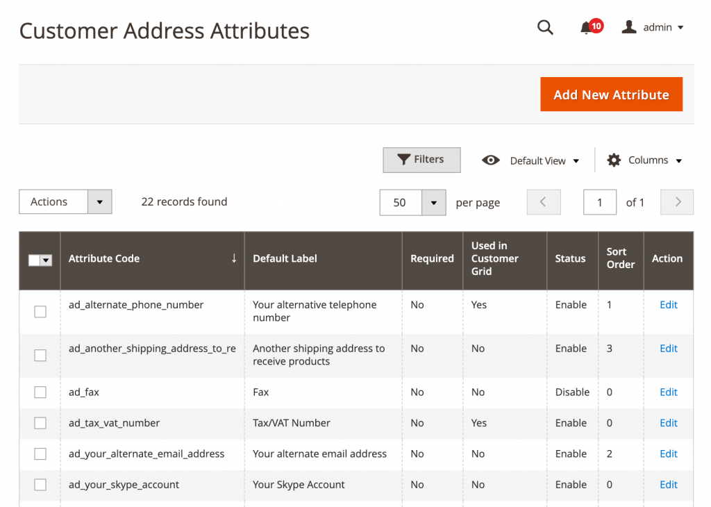 magento 2 customer address attributes