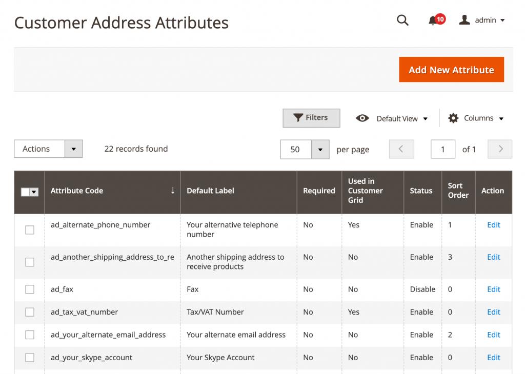magento 2 customer address attributes