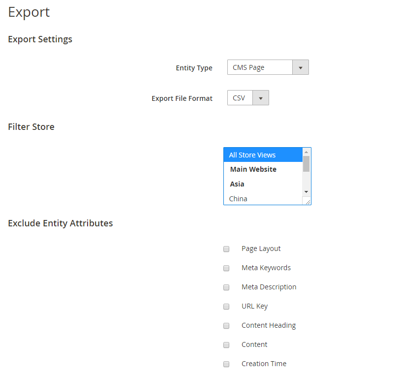 Export CMS Page