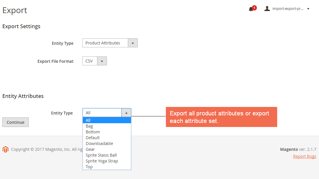 Export Product Attributes