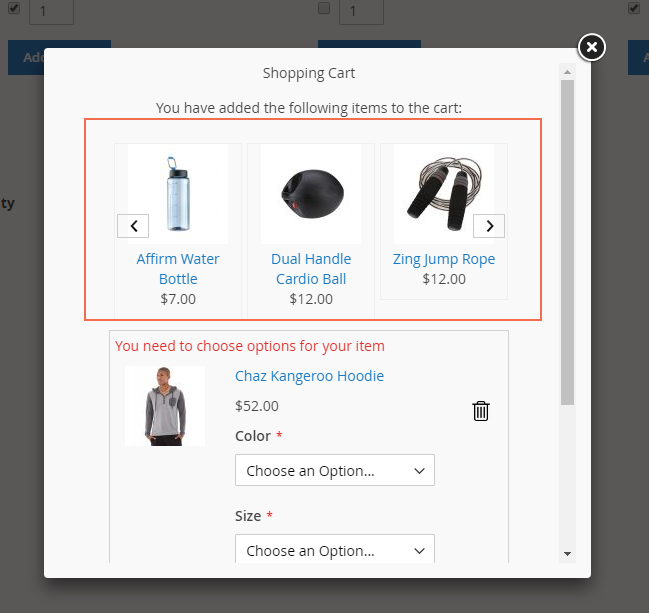 Pop up to showcase Magento 2 Frequently Bought Together list