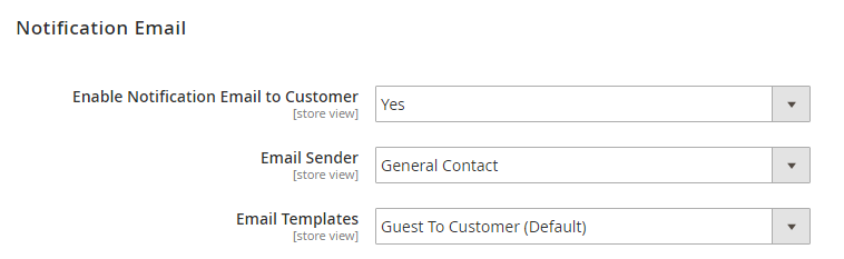 set up notification email of account creation sent to guest email