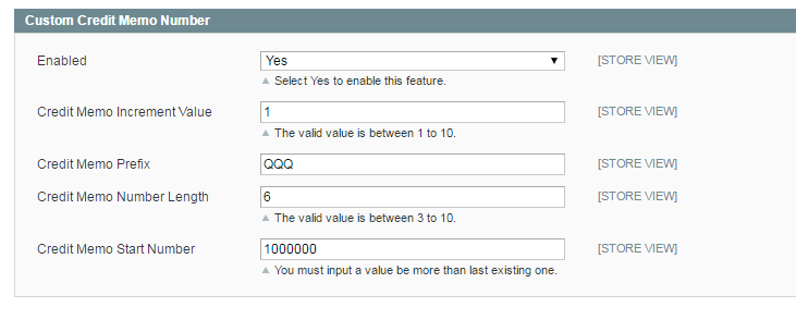 set custom credit memo number using Magento Custom Order Number extension