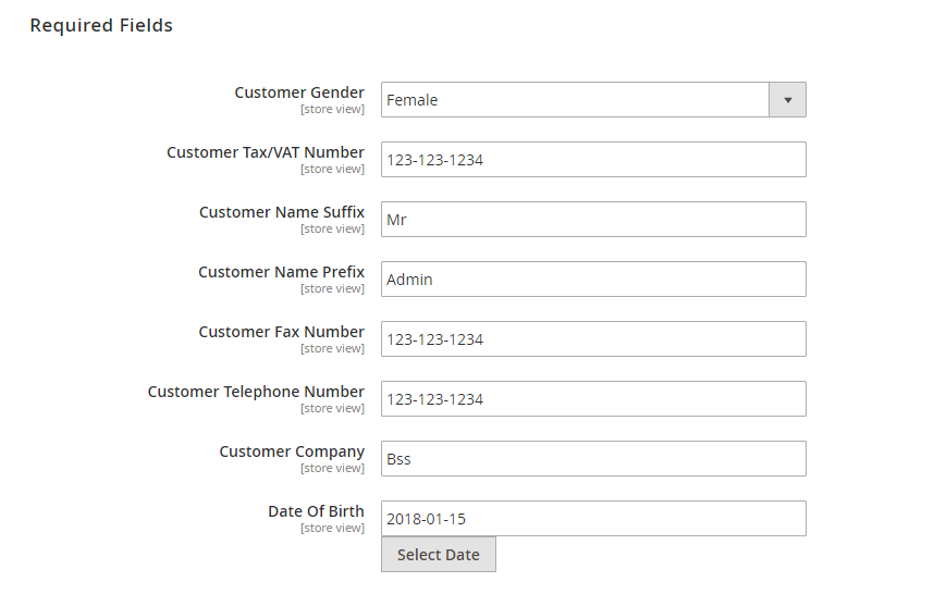 required fields to create account for guests