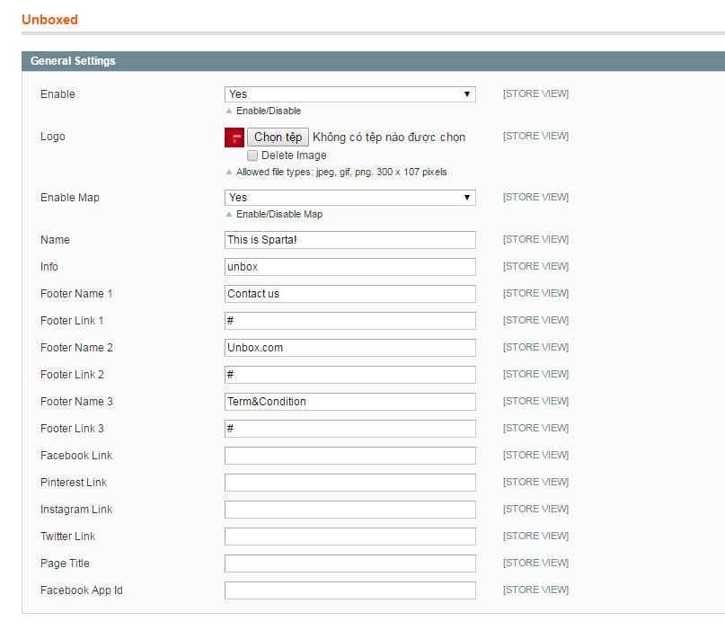 General Settings of Magento Unboxed extension