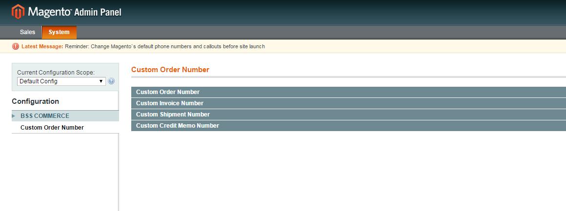 Magento Custom Order Number configurations