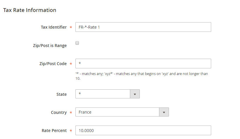 tax with a rate of 10% is used for France