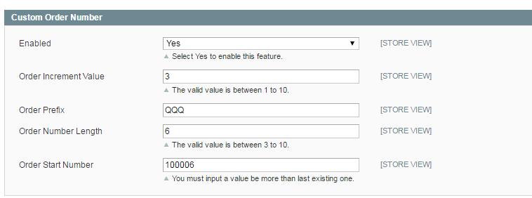 Magento Custom Order Number Settings