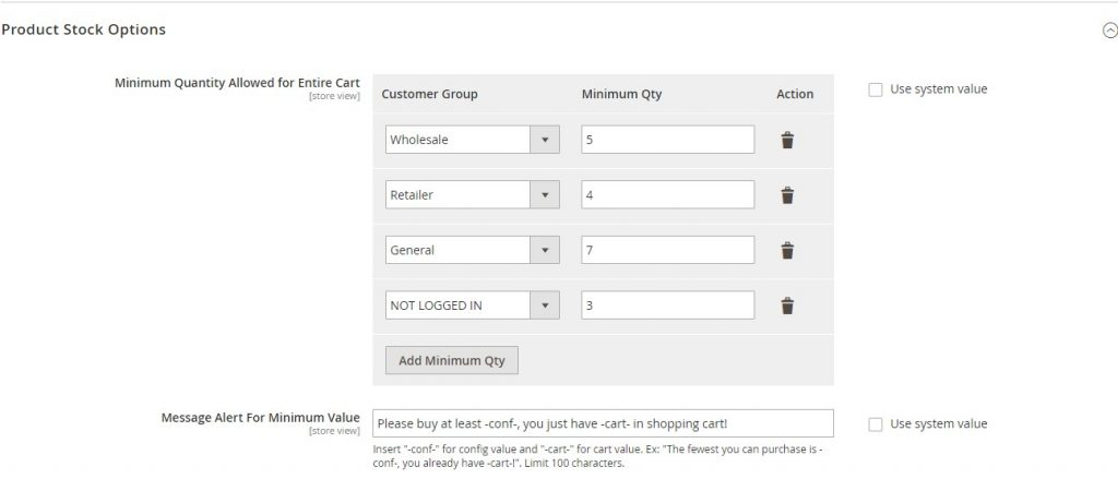 setting for customer group