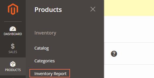 Admin panel inventory report
