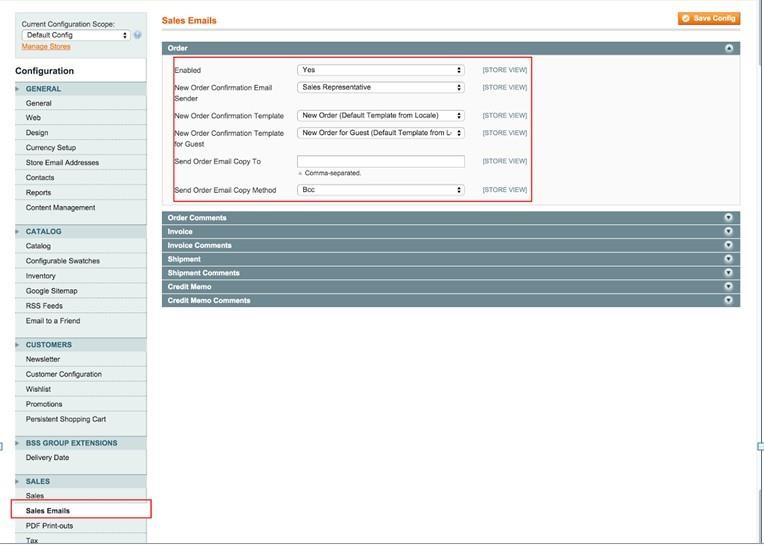 set order email in Magento sales emails