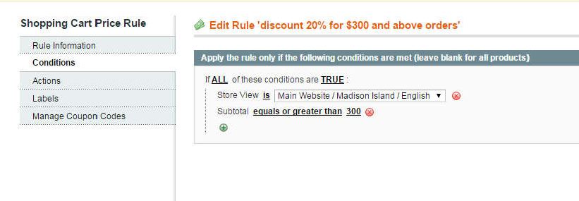 example of Magento shopping cart rule per store view