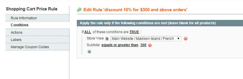 second example of Magento shopping cart price rules per store view