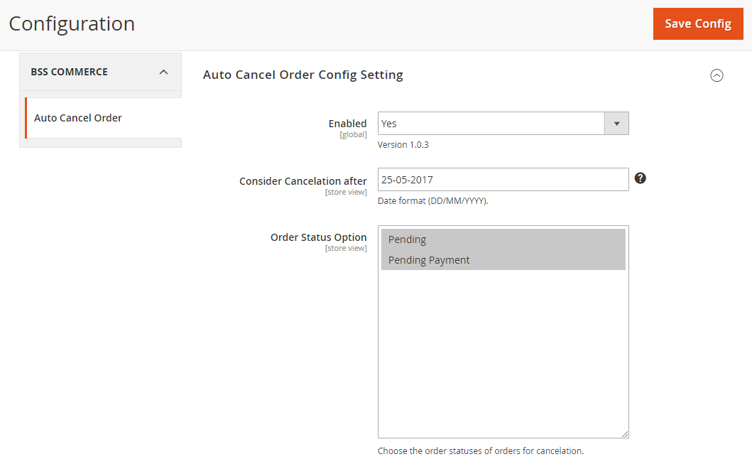 general configurations of Magento 2 Auto Cancel Order extension
