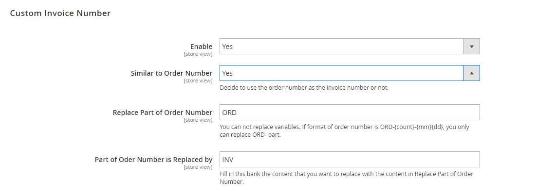 set up Magento 2 custom invoice number