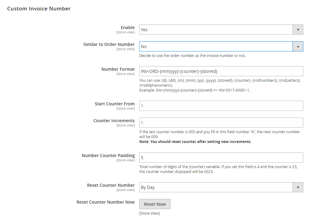 detailed configuration of Magento custom invoice number