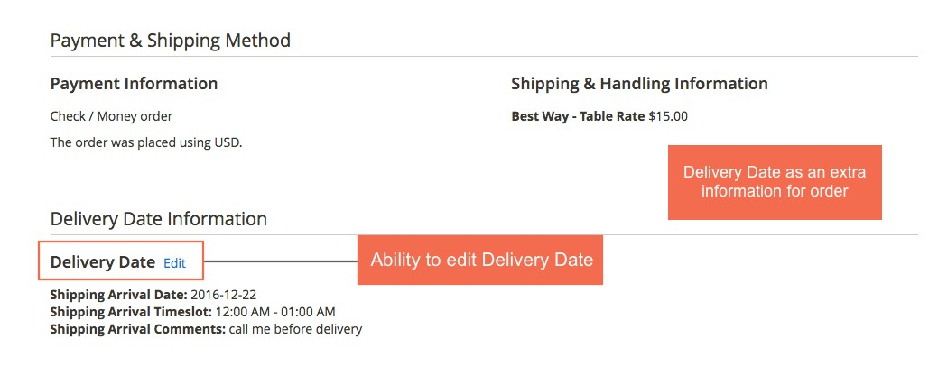display Magento 2 order date delivery on order detail page