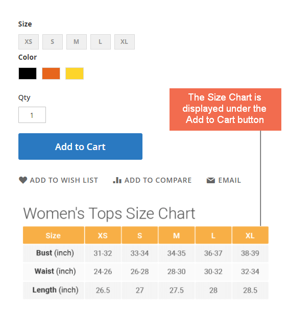Size chart Under Add to Cart Button