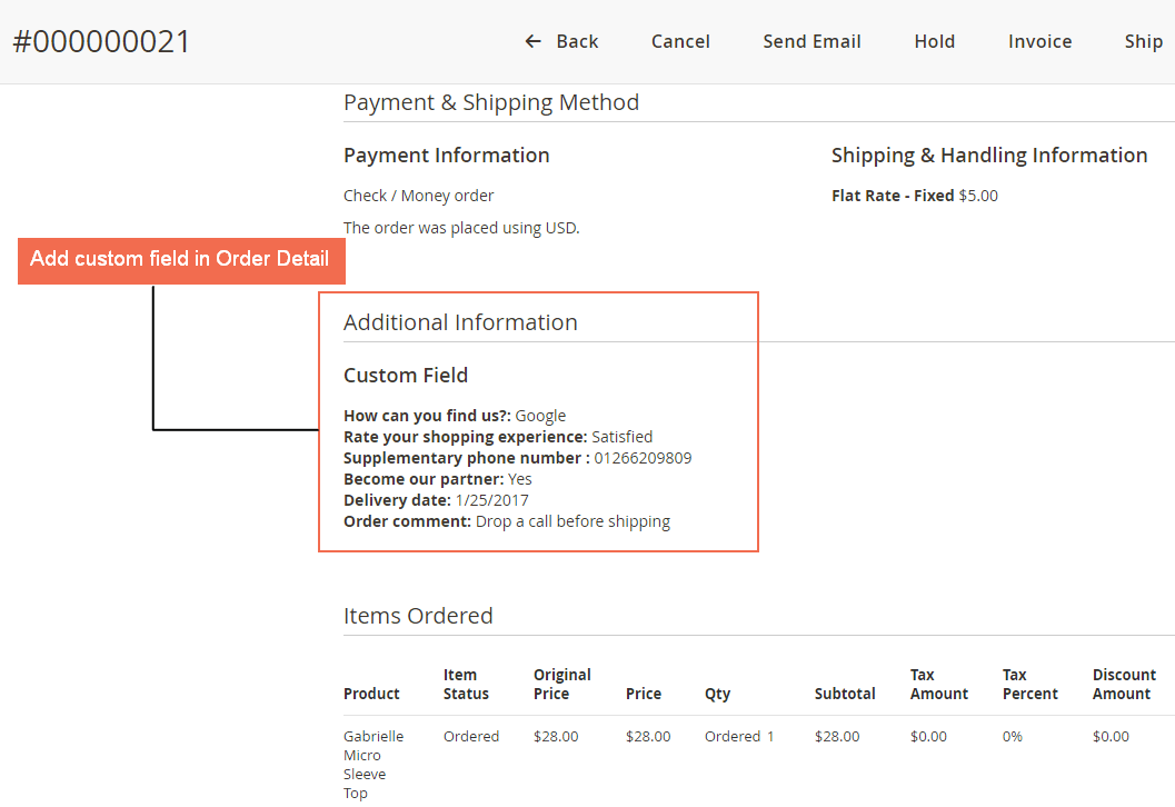 display checkout custom fields on Magento 2 order detail page