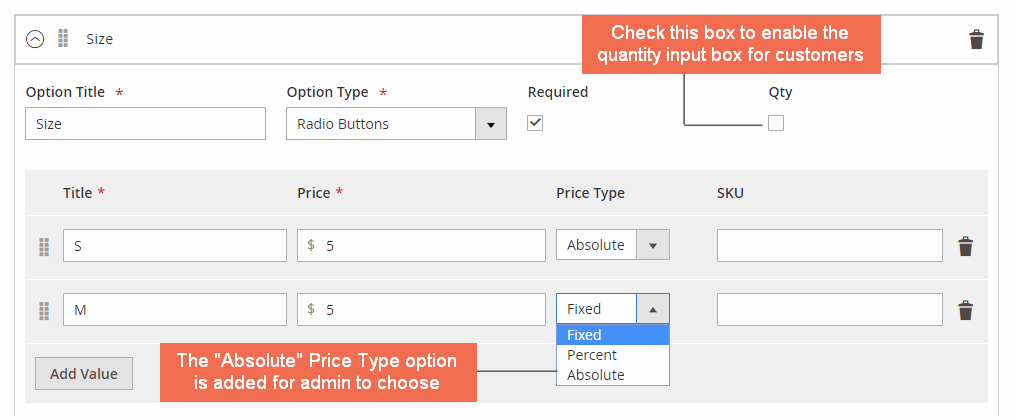 magento 2 custom option absolute price and quantity