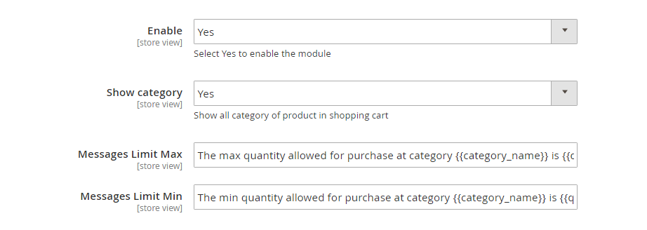 enable Magento 2 Min/Max Order Quantity per category and for customer group extension