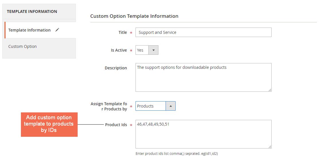 magento 2 custom option template