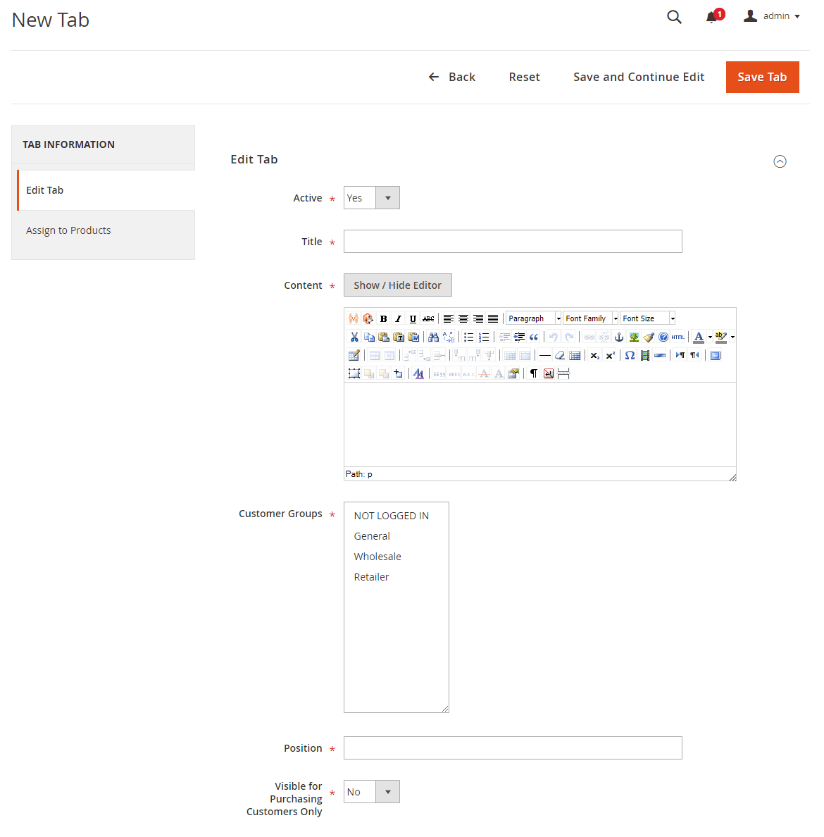 Create and edit product tabs