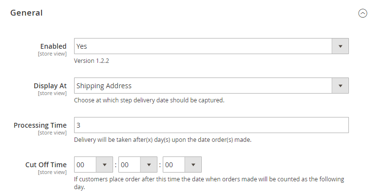 general settings of Magento 2 Order Delivery Date extension