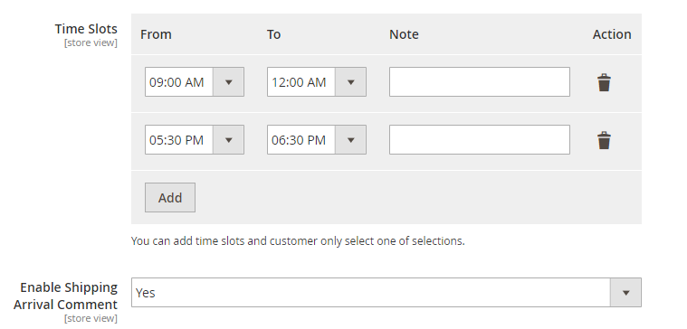 define time slots for Magento 2 Order Delivery Date option